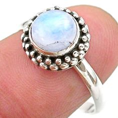 2.38cts solitaire natural rainbow moonstone 925 silver ring size 7.5 t26297