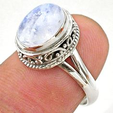 4.23cts solitaire natural rainbow moonstone 925 silver ring size 6.5 t27297