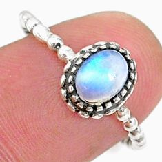 1.50cts solitaire natural rainbow moonstone 925 silver ring size 7.5 t34897