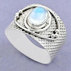 2.02cts solitaire natural rainbow moonstone 925 silver ring size 8.5 t37220