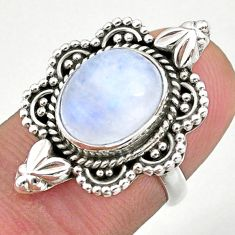 5.12cts solitaire natural rainbow moonstone 925 silver ring size 5.5 t39915