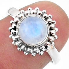 2.42cts solitaire natural rainbow moonstone 925 silver ring size 6.5 t41295