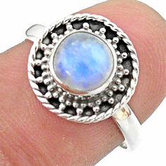 2.60cts solitaire natural rainbow moonstone 925 silver ring size 7.5 t41334