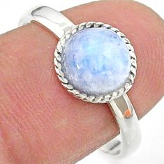 2.98cts solitaire natural rainbow moonstone 925 silver ring size 8.5 t41356
