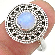 2.57cts solitaire natural rainbow moonstone 925 silver ring size 9.5 t41436