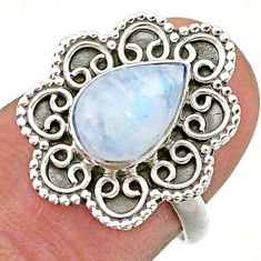 2.27cts solitaire natural rainbow moonstone 925 silver ring size 6.5 t41477