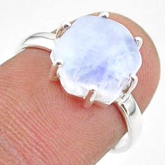5.92cts solitaire natural rainbow moonstone 925 silver ring size 6.5 t43001