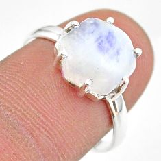 5.49cts solitaire natural rainbow moonstone 925 silver ring size 7.5 t43021