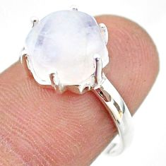 4.71cts solitaire natural rainbow moonstone 925 silver ring size 6.5 t43045