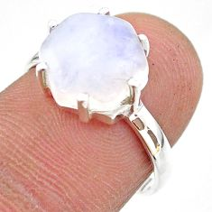5.36cts solitaire natural rainbow moonstone 925 silver ring size 6.5 t43049