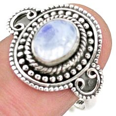 2.12cts solitaire natural rainbow moonstone 925 silver ring size 7.5 t43898