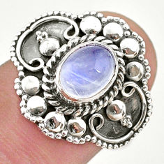 2.02cts solitaire natural rainbow moonstone 925 silver ring size 7.5 t43911