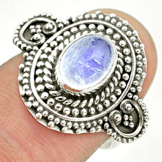 2.02cts solitaire natural rainbow moonstone 925 silver ring size 6.5 t43933