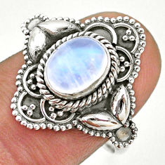 2.11cts solitaire natural rainbow moonstone 925 silver ring size 8.5 t43956