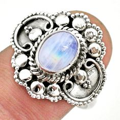 1.94cts solitaire natural rainbow moonstone 925 silver ring size 8.5 t43960