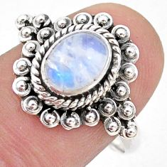 2.14cts solitaire natural rainbow moonstone 925 silver ring size 8.5 t43993