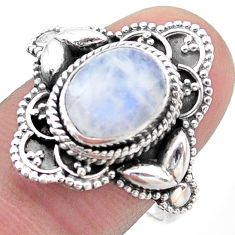 4.02cts solitaire natural rainbow moonstone 925 silver ring size 8.5 t46136