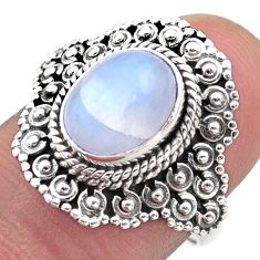 4.22cts solitaire natural rainbow moonstone 925 silver ring size 6.5 t46137