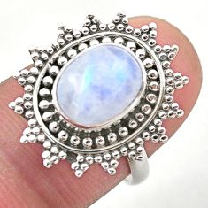 4.40cts solitaire natural rainbow moonstone 925 silver ring size 7.5 t46158