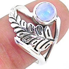 1.21cts solitaire natural rainbow moonstone 925 silver ring size 7.5 t6380