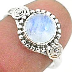 2.41cts solitaire natural rainbow moonstone 925 silver ring size 6.5 t6600