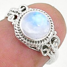 2.58cts solitaire natural rainbow moonstone 925 silver ring size 5.5 t6629