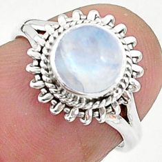 2.58cts solitaire natural rainbow moonstone 925 silver ring size 5.5 t6639