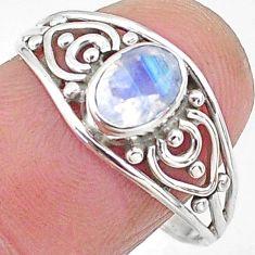 1.41cts natural rainbow moonstone graduation handmade ring size 9.5 t9380