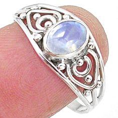 1.37cts natural rainbow moonstone graduation handmade ring size 8.5 t9400