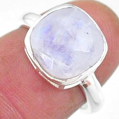 4.87cts solitaire natural rainbow moonstone cushion silver ring size 6 t11336