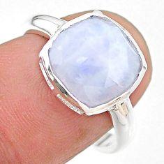 5.22cts moon natural rainbow moonstone cushion silver ring size 7 t22128