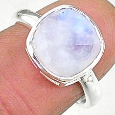 5.84cts solitaire natural rainbow moonstone cushion silver ring size 7 t8235