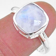 4.77cts solitaire natural rainbow moonstone cushion silver ring size 8 t11330