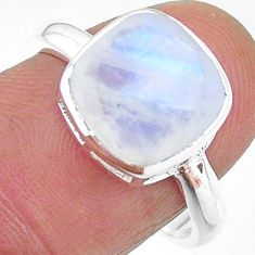 5.76cts solitaire natural rainbow moonstone cushion silver ring size 8 t11339
