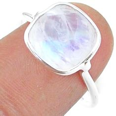5.08cts solitaire natural rainbow moonstone cushion silver ring size 8 t50758