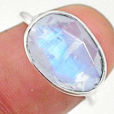4.29cts solitaire natural rainbow moonstone fancy 925 silver ring size 5 t34760