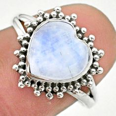 5.11cts solitaire natural rainbow moonstone heart silver ring size 7.5 t41620