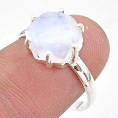 5.45cts solitaire natural rainbow moonstone hexagon silver ring size 8 t43023