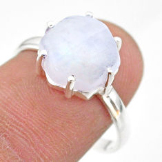 5.74cts solitaire natural rainbow moonstone hexagon silver ring size 8 t43026