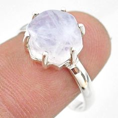 5.81cts solitaire natural rainbow moonstone hexagon silver ring size 8 t43031