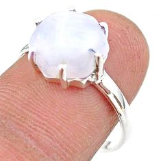 4.98cts solitaire natural rainbow moonstone hexagon silver ring size 8 t43048