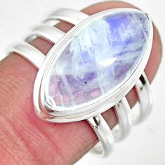 8.18cts solitaire natural rainbow moonstone marquise silver ring size 8 r51240