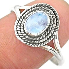 0.92cts solitaire natural rainbow moonstone oval 925 silver ring size 10 t26193