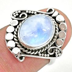 5.10cts solitaire natural rainbow moonstone oval 925 silver ring size 6 t39940