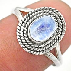 0.99cts solitaire natural rainbow moonstone oval 925 silver ring size 7 t26197