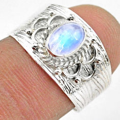1.47cts solitaire natural rainbow moonstone oval 925 silver ring size 7 t42307