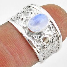 1.54cts solitaire natural rainbow moonstone oval 925 silver ring size 7 t42309