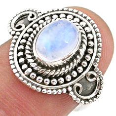 2.13cts solitaire natural rainbow moonstone oval 925 silver ring size 7 t43896