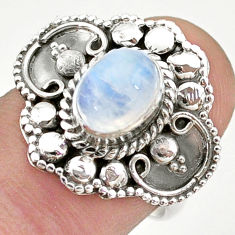 2.13cts solitaire natural rainbow moonstone oval 925 silver ring size 7 t43913