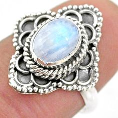 1.94cts solitaire natural rainbow moonstone oval 925 silver ring size 7 t43969